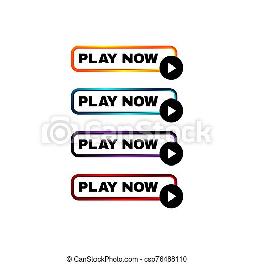 play now button four colored editable call to action buttons vector illustrations - csp76488110