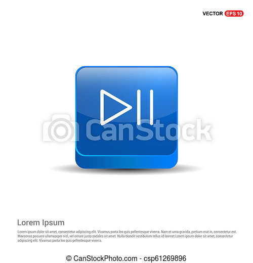 Play pause icon - 3d Blue Button - csp61269896