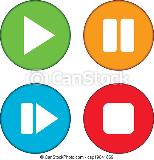 play pause stop forward buttons set on white background clip art rh canstockphoto com buttons clipart free buttons clipart free