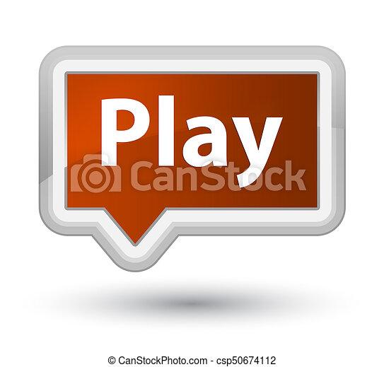 Play prime brown banner button - csp50674112