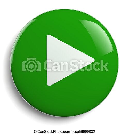 Play Push Button Green Circle - csp56999032