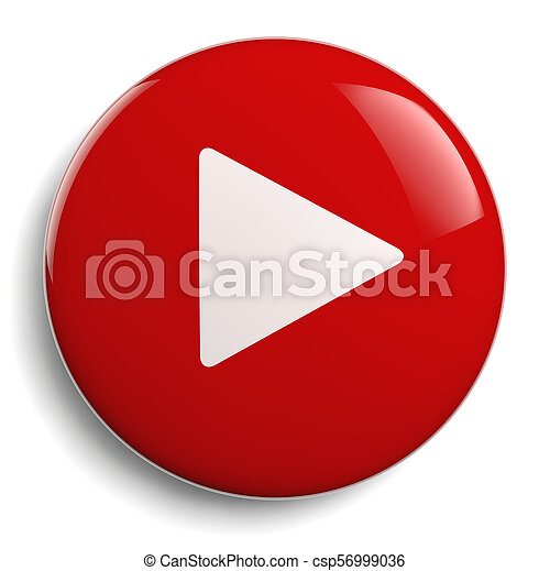 Play Push Button Red Circle - csp56999036