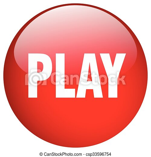 play red round gel isolated push button - csp33596754