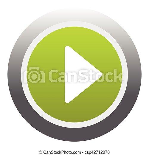 Play round button icon, flat style - csp42712078