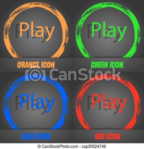 Play sign icon. symbol. Fashionable modern style. In the orange, green, blue, red design. Vector - csp30524746