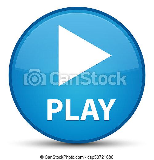 Play special cyan blue round button - csp50721686