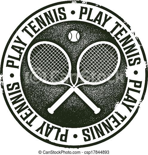 Play Tennis Vintage Sport Stamp - csp17844893
