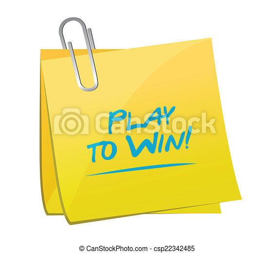 play to win memo illustration design - csp22342485