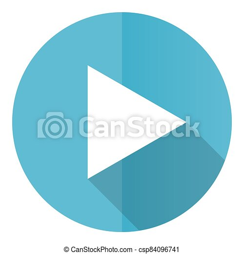 Play vector icon, flat design blue round web button isolated on white background - csp84096741