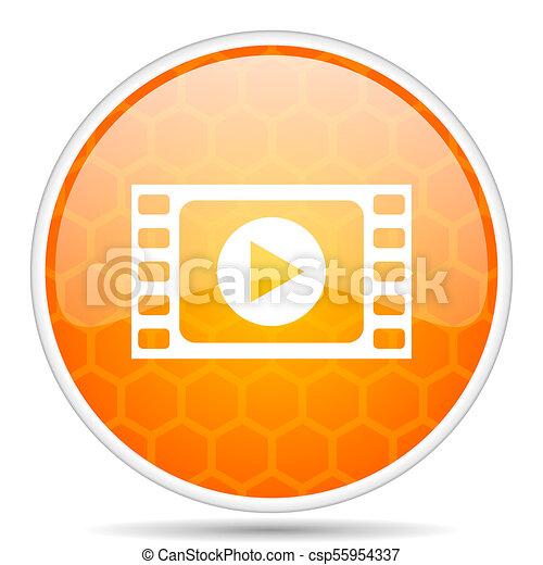 Play video web icon. Round orange glossy internet button for webdesign. - csp55954337