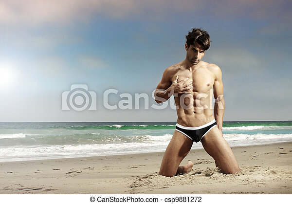 playa, ataque, hombre - csp9881272