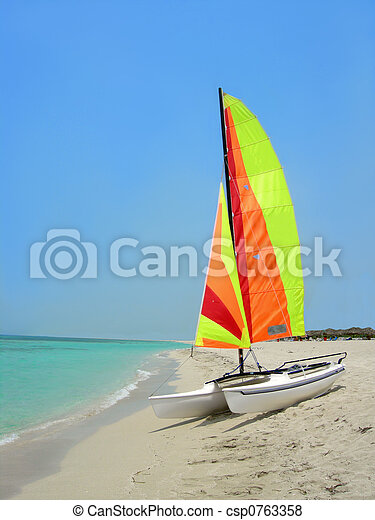 playa, barco - csp0763358