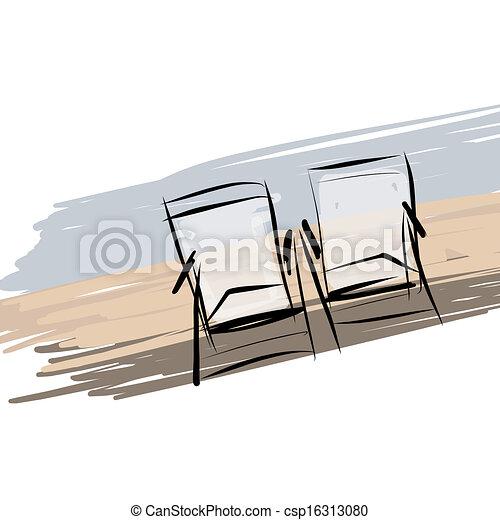 Dos sillas de cubierta en la playa, bosquejo para su diseño - csp16313080