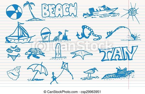 Elementos de playa. - csp29963951