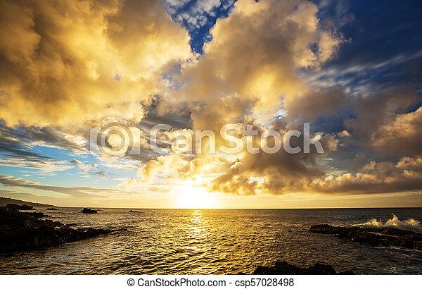 Playa hawaiana al amanecer - csp57028498