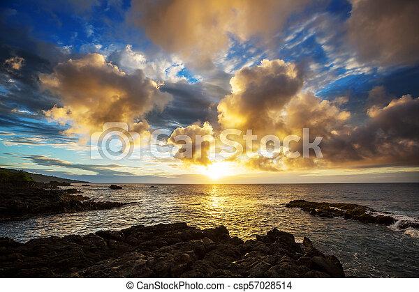 Playa hawaiana al amanecer - csp57028514