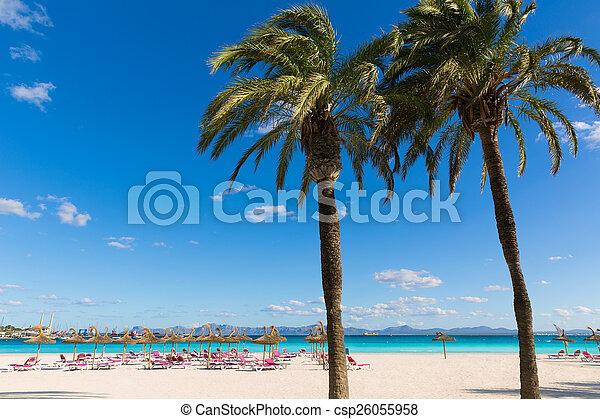 Mallorca platja de Alcudia Beach en Mallorca - csp26055958
