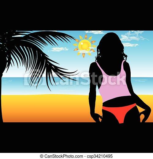 Chica en la ilustración de la silueta de la playa - csp34210495