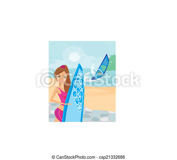 Hermosa surfista en una playa - csp21332686