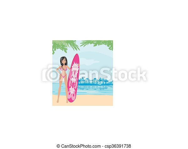 Hermosa surfista en una playa - csp36391738