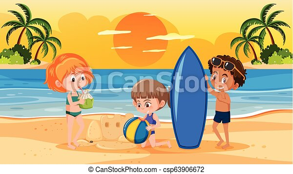 Sunset en la playa - csp63906672