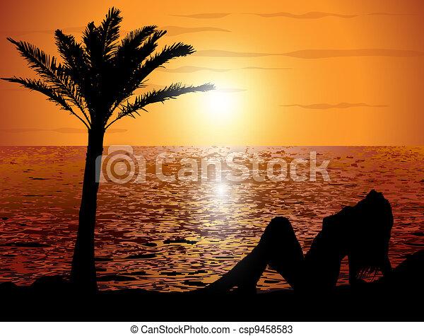 Sunset en la playa - csp9458583
