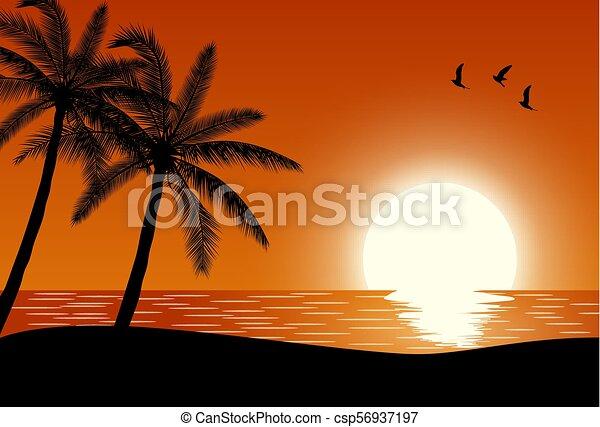 Playa Silueta Palmera