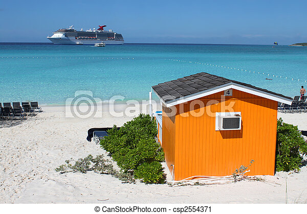 Cabana colorida en la playa tropical - csp2554371