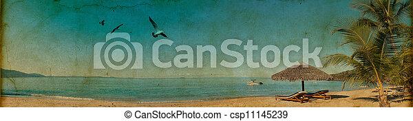 Playa tropical con grunge y estilo retro - csp11145239