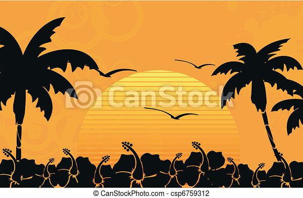 Papel de playa tropical Hawaiano 10 - csp6759312