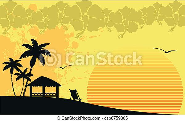 Parpadeo de playa tropical Hawaiano - csp6759305