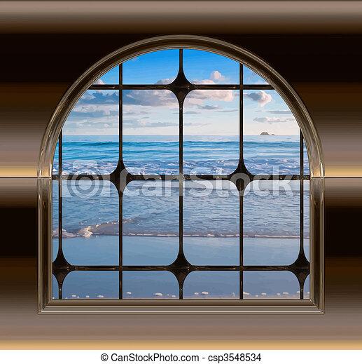 Playa a través de la ventana - csp3548534