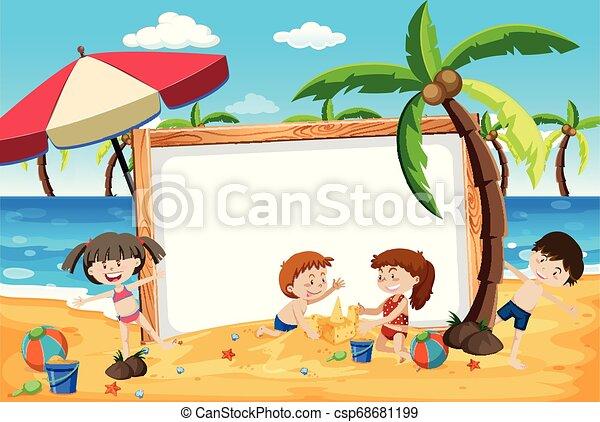 Pancarta de niños de Summer Beach - csp68681199