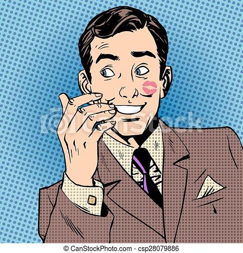 Playboy man kiss face red lipstick style art pop retro vector playboy man kiss face red lipstick style art pop retro vector voltagebd Images