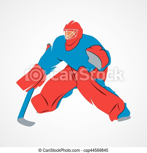 Player Hockey Goalie Abstract Hockey Goalie Player On A White