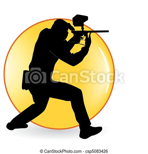 player in a paintball - csp5083426