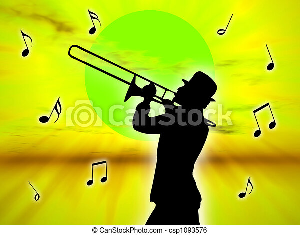 Player in the sunset - csp1093576