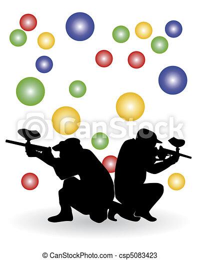 Black Silhouette Of Players In A Paintball Against Color Balls