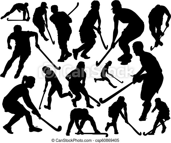Players In Hockey On The Grass Vector Silhouettes Of The Players In