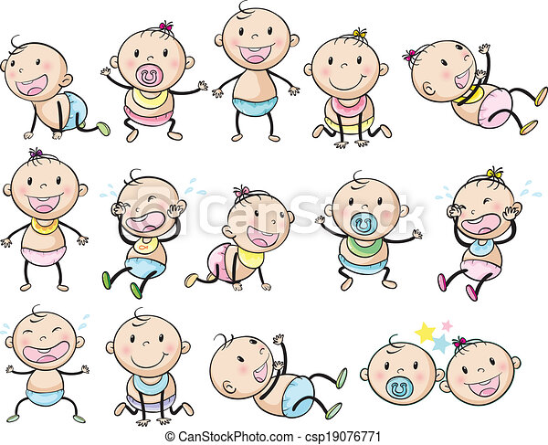 A seamless design with playful kids Clipart | k18910604 | Fotosearch