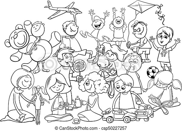 Playful Children Group Coloring Book