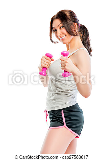 playful look athlete with dumbbells - csp27583617