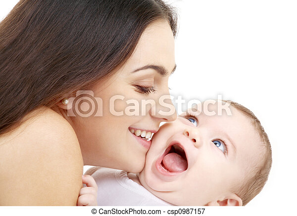 playful mama with happy baby - csp0987157