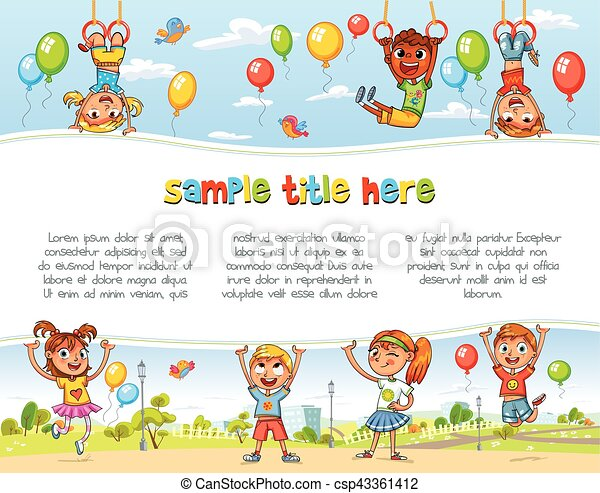 Playground. Happy children holding blank poster - csp43361412