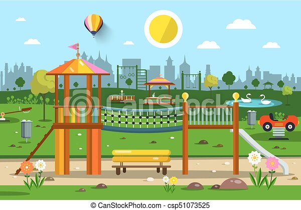 Playground in City Park Vector - csp51073525
