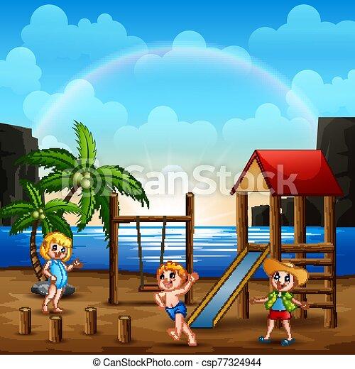 Playground scene on the beach with children - csp77324944