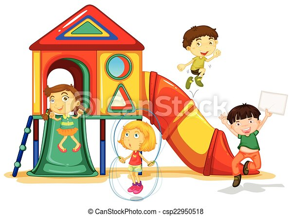 playground illustration of many children playing on a slide vector rh canstockphoto com clipart playground clipart playground equipment