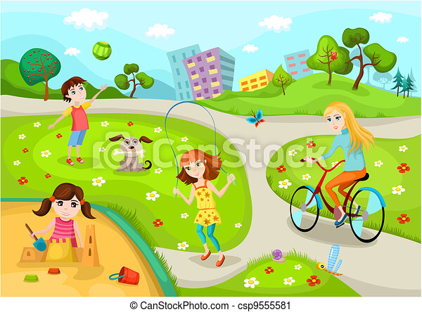 Vector illustration of a cute playground.