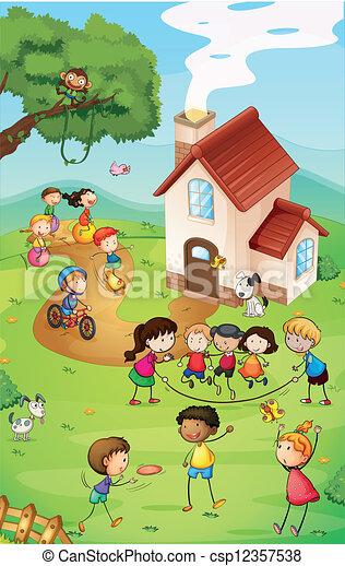 Playground with kids - csp12357538