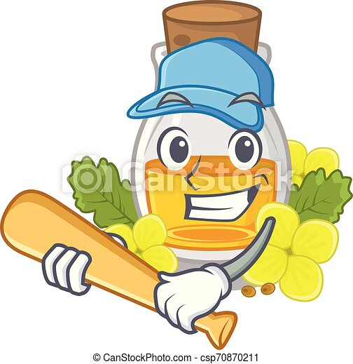 Playing baseball mustard oil packaged in carton bottle - csp70870211